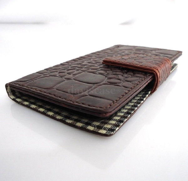genuine leather Case for Samsung Galaxy S4 book wallet handmade crocodile style