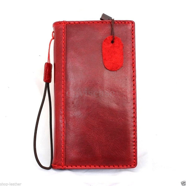 genuine natural slim leather case for iphone 6  4.7 cover book wallet credit card magnet luxurey flip  R free shipping  red