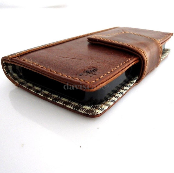genuine real leather case for iphone 4s cover s 4 book wallet stand handmade TA
