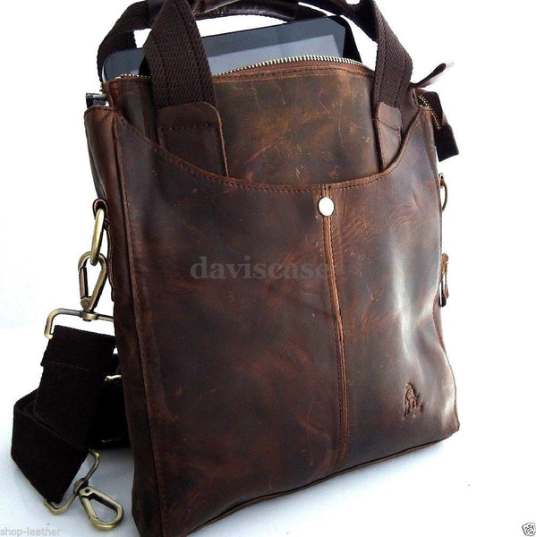 genuine Leather men Bag Messenger for iPad air retro cross body Shoulder Satchel 11 free shipping