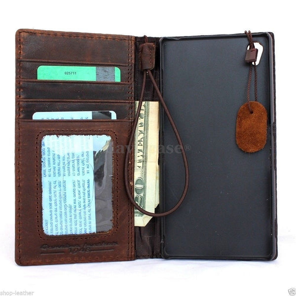 genuine real 100% leather Case For sony Xperia Z3 book wallet 3 z handmade it