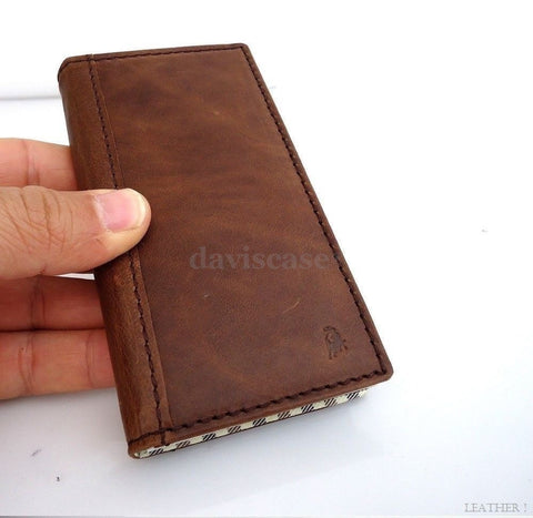 genuine leather case for iphone 5 book wallet cover new handmade retro cards new