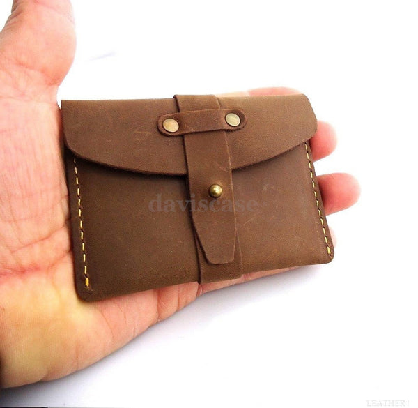 Genuine real Leather man mini wallet Money id credit cards holder Compact pocket ta