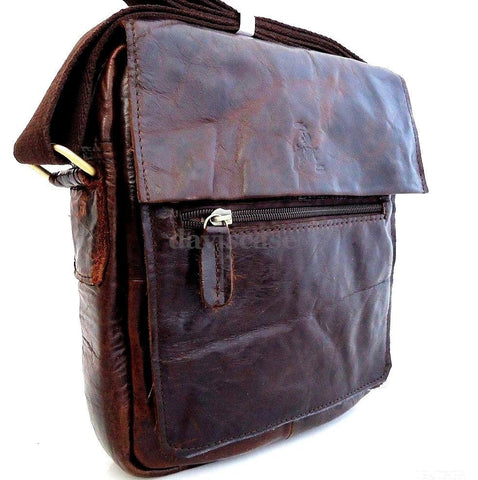 Genuine full Leather Shoulder Bag Cowhide man for ipad 2 3 4 vintage 60's 70's retro cross body