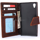 genuine real 100% leather Case For sony Xperia Z2 book wallet 2 z handmade it