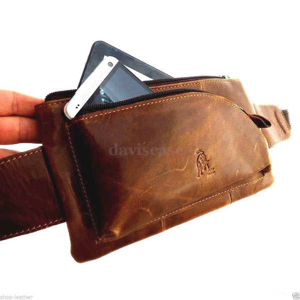 Genuine real Leather Bag man Pouch Fanny Pack Phone Pocket Waist retro Style M S