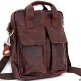 Genuine natural Leather Shoulder Satchel Bag handbag woman man 11 12 laptop 10