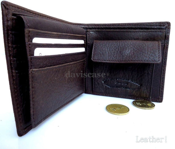 Men Money Clip Genuine retro Leather wallet id Coin Pocket Purse Pouch slim gift