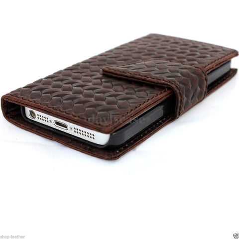genuine full leather hard case for iphone 5s 5c 5 cover book wallet credit card c s flip handmade luxury ! free shipping