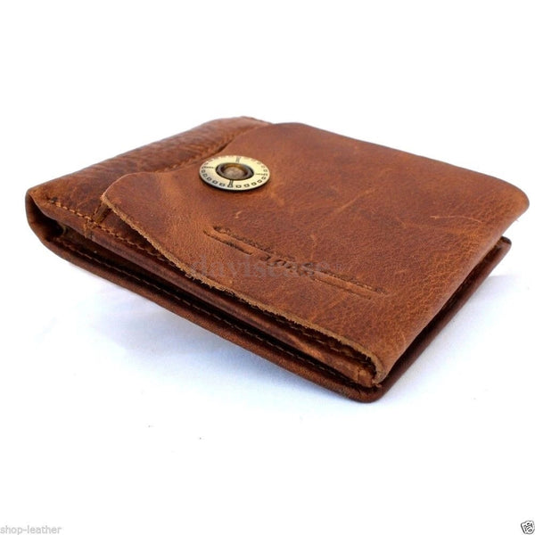 Mens Genuine italian Leather wallet Billfold case COIN POCKET CARD id 1 Cash Slots 2 handcraft free shipping