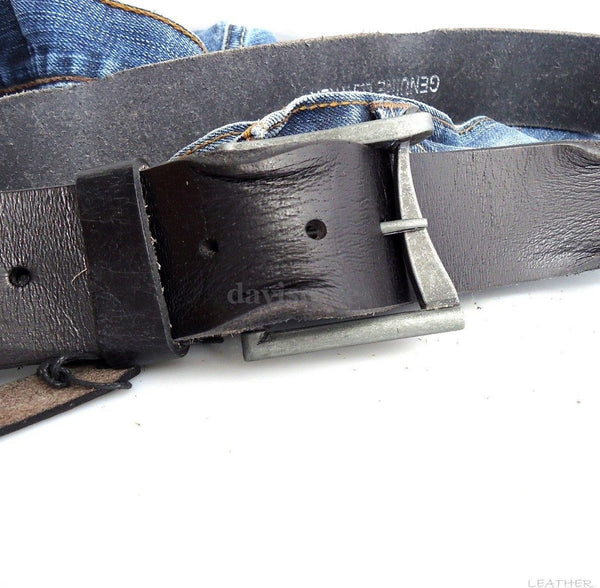 Genuine vintage Leather belt 43mm Waist handmade classic retro 70S BLACK size L