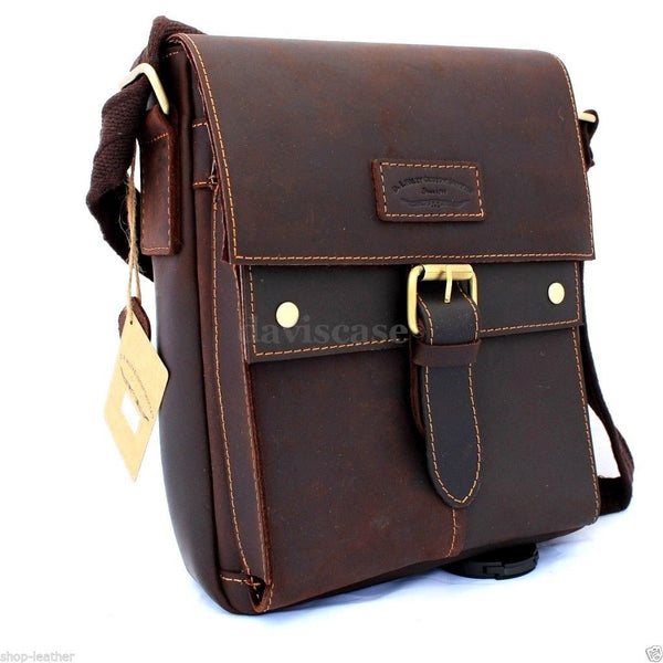 genuine Vintage italian Leather mens Bag Messenger for iPad air Shoulder Satchel School 5 4 free shipping