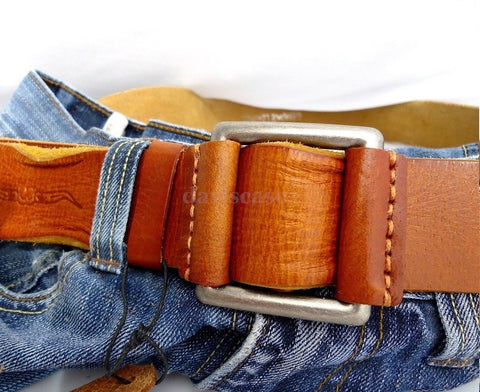 Genuine full Leather belt 43mm mens womens Waist handmade classic 60's p size s