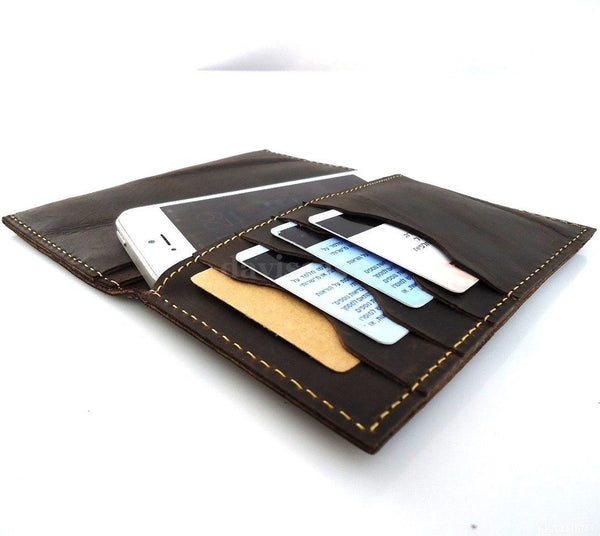 genuine buffalo leather slim case for iphone 5 5s cover book wallet handmade s uk