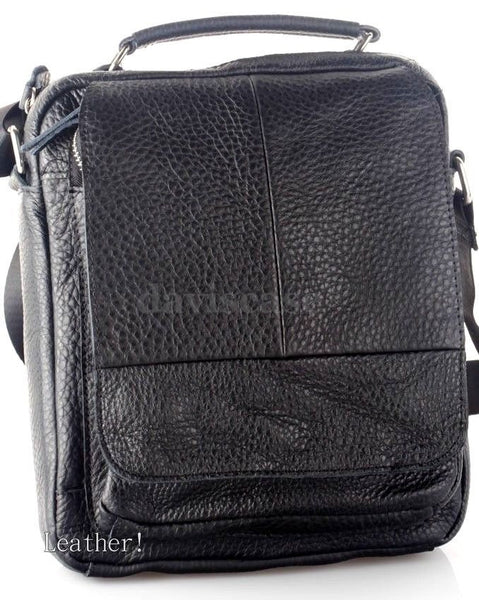 Vintage genuine Leather Messenger Bag Laptop 11 shoulder handbag black cross 10