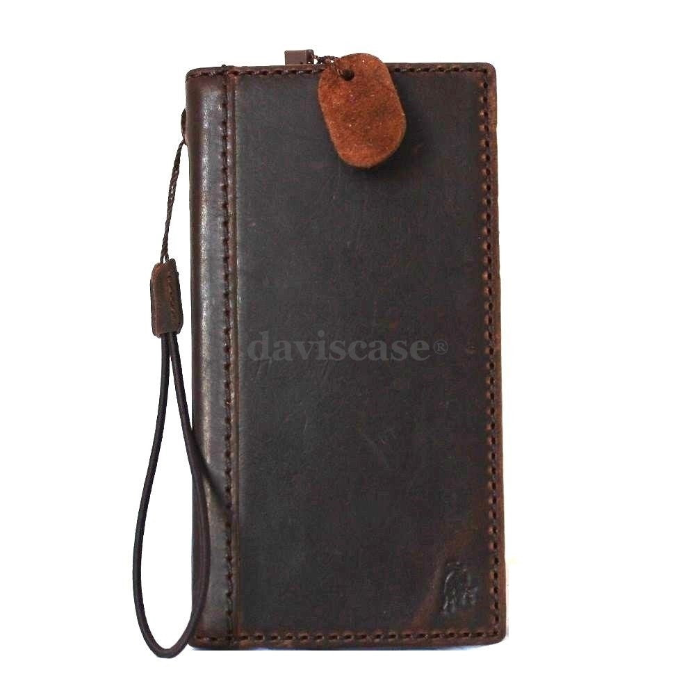 new products 9b0fe e21de genuine italian leather Case for Samsung Galaxy S5 active s 5 SM-G870A book  wallet slim cover handmade brown thin daviscase