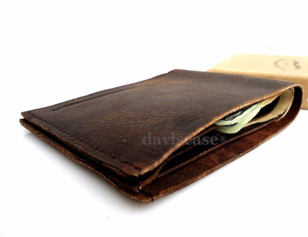 Men Wallet Money Swiss full Genuine Leather Pocket Wallet Spring Clip Card D new