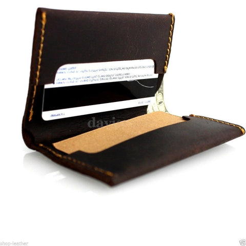 Genuine buffalo Leather man mini wallet Money id credit cards pocket small style it