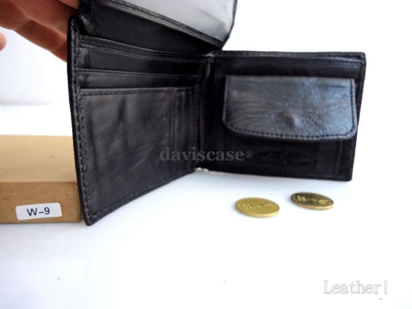 Men Money Clip Genuine retro Leather wallet id Coin Pocket Purse Pouch slim blac