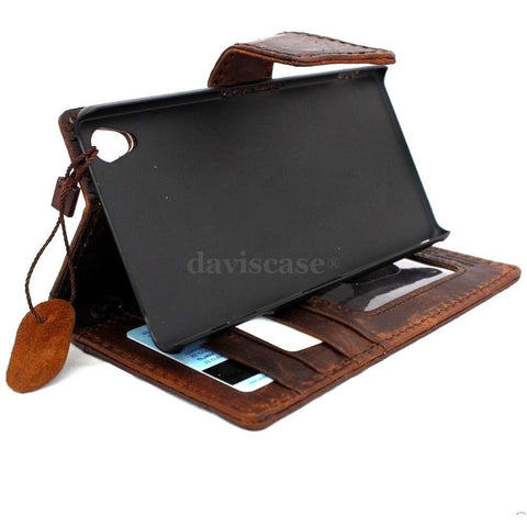 genuine real vintage leather Case For sony Xperia Z3 book wallet 3 z handmade it