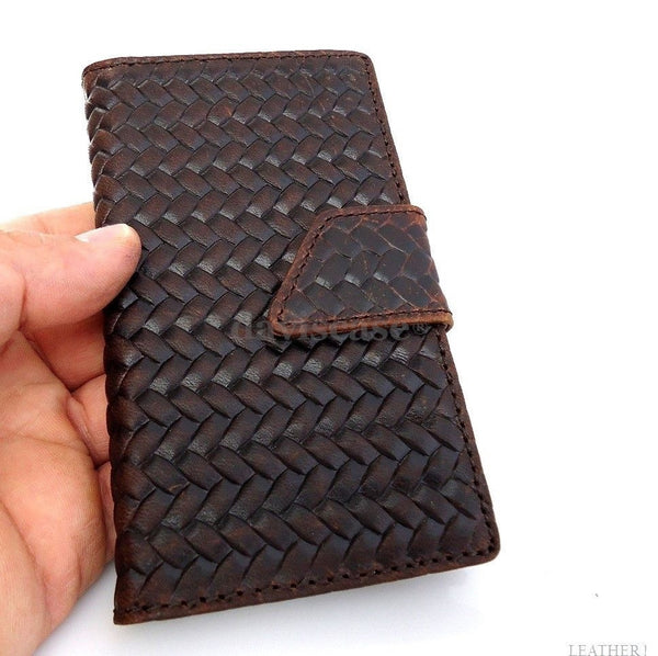 genuine oil leather Case For Samsung Galaxy Note 3 book wallet handmade brown r