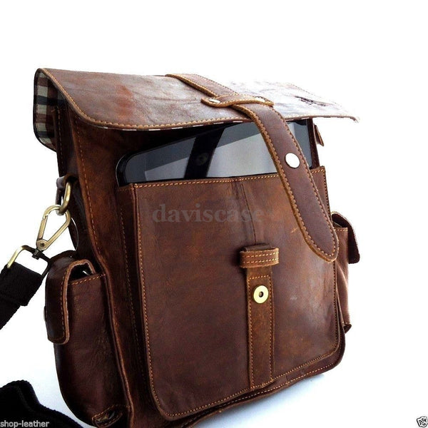 genuine vintage Leather Bag Messenger handbag iPad air Shoulder Satchel Briefcase Travel Brown  classic  retro  4 new