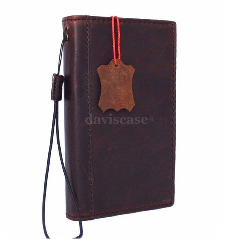 genuine real leather Case for Samsung Galaxy Note II 2 book wallet handmade slim luxury ID davis case R