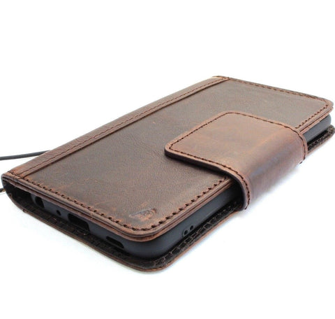 Genuine vintagel leather case for LG G7 book cards wallet magnetic cover slim soft holder daviscase