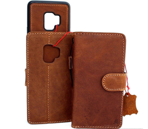 Genuine leather Case for Samsung Galaxy S9 book wallet cover Cards Removable detachable id window vintage Tan brown slim Jafo