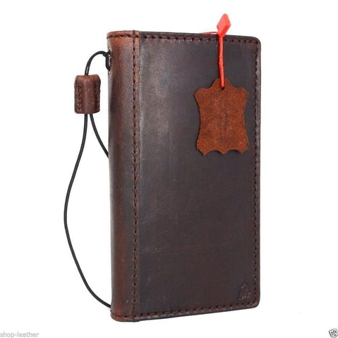 genuine vintage italian leather Case  for sony Xperia Z5 book wallet slim cover brown cards slots thin handmade daviscase