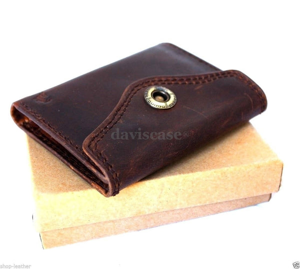 Men Money Clip Genuine Leather wallet gents Coin Pocket Purse Pouch used style R
