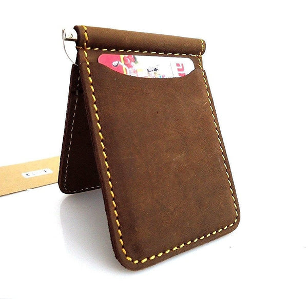 Genuine buffalo Leather man mini wallet Money id credit cards pocket small style lite daviscase
