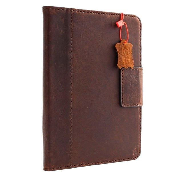 genuine natural full Leather Bag for apple iPad mini 4 hard case cover luxury magnet brown cards slots slim daviscase