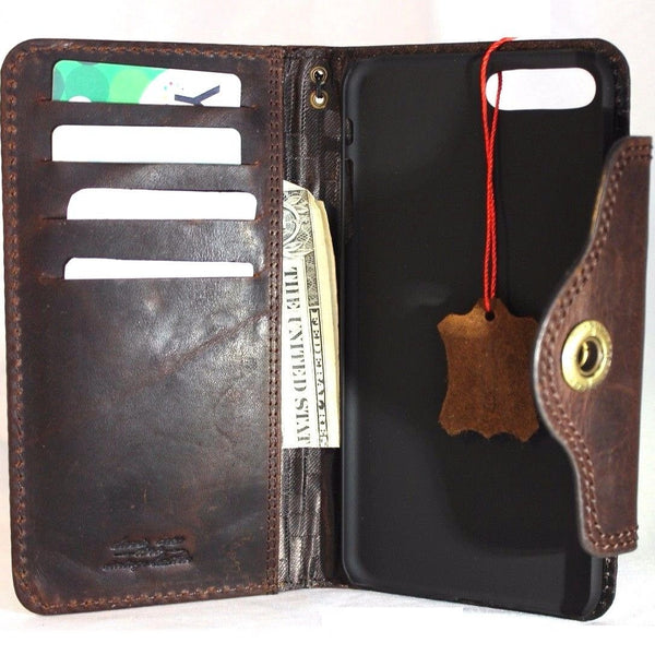 quality design de36a 23473 Genuine REAL leather iPhone 8 plus case cover wallet credit book luxury  natural slim holder Davis