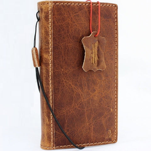 Genuine real Leather Case for iPhone X book wallet closure cover Cards slots Slim vintage bright brown Daviscase 10 ready wireless charging