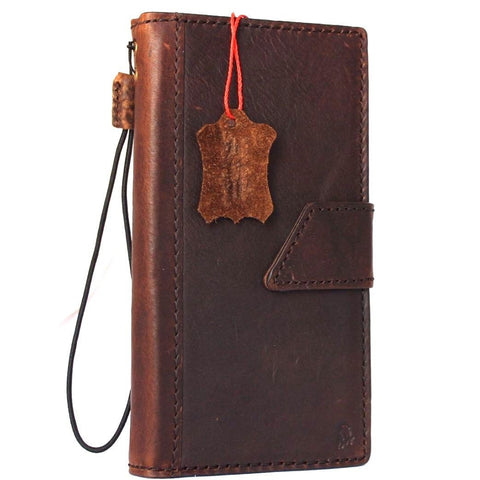 Genuine real leather case for iPhone 7 magnetic Closure book wallet cover credit holder luxury Rfid Pay brown