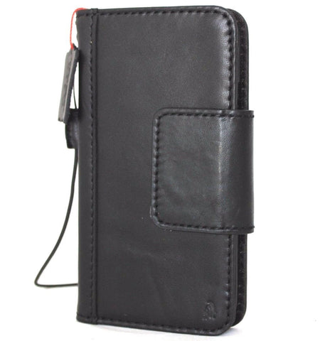 Genuine Leather Case for iPhone X book wallet magnet closure cover Cards slots Slim vintage bright black Daviscase