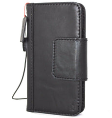 Genuine Leather Case for iPhone X book wallet magnet closure cover Cards slots Slim vintage black Daviscase