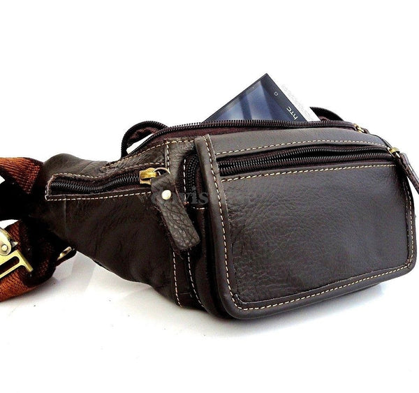Genuine full Leather wallet Bag man zipper Waist Pouch sling backpack cellphone