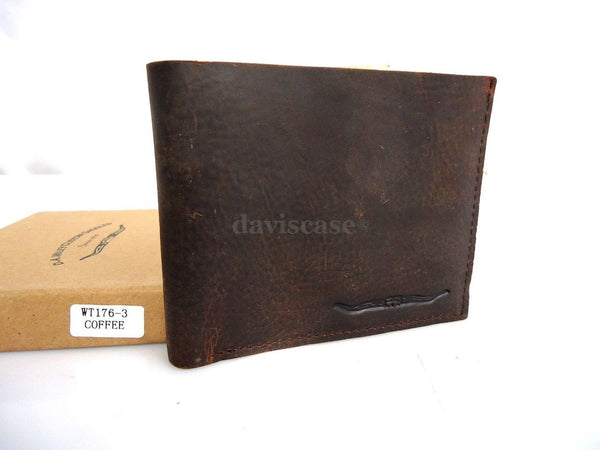 Men Money Clip Genuine vintage Leather wallet Bag Coins creditcards ID retro