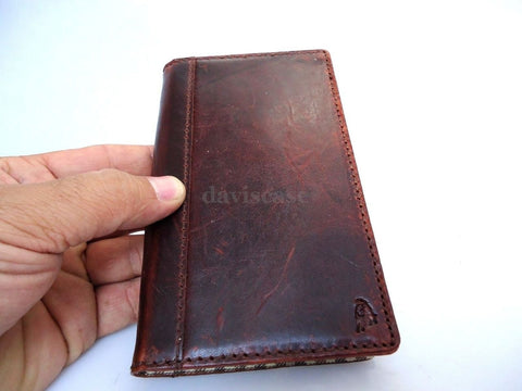 genuine vintage leather Case for htc butterfly s book wallet handmade new