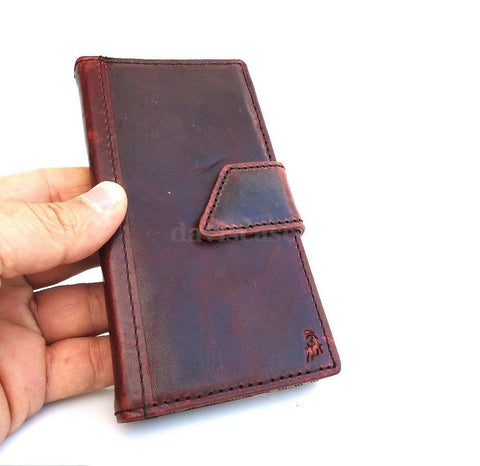 genuine oil real leather Case for sony xperia z1 book wallet handmade id