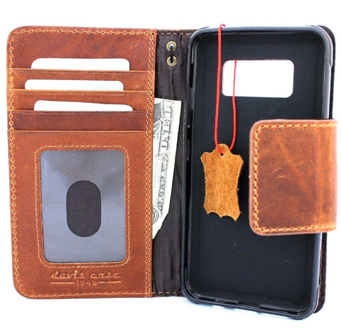 Genuine oiled leather Case for Samsung Galaxy S8 Active book wallet handmade cover sport daviscase vintage