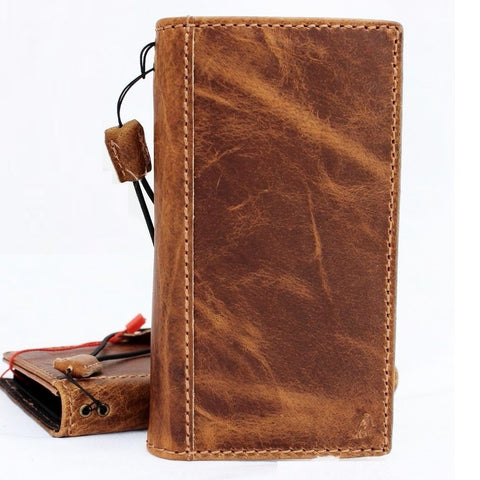 Genuine real Leather Case for iPhone X book wallet closure cover Cards slots Slim vintage bright brown Daviscase 10