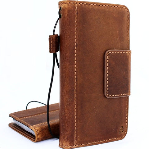 Genuine vintage leather Case for Samsung Galaxy S9 Plus book wallet magnetic closure cover cards slots Tan strap prime daviscase
