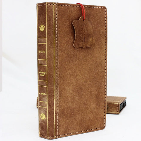 Genuine vintage leather Case for Samsung Galaxy S9 Plus book wallet bible design strap cover cards slots Jafo Daviscase wireless charging
