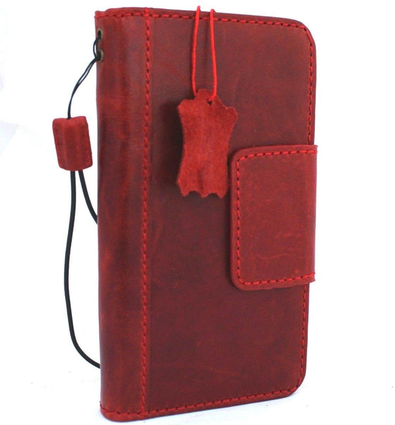Genuine Leather Case for iPhone XS book wallet magnet closure cover Cards slots Slim soft holder vintage red Daviscase