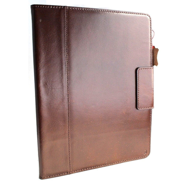 Genuine full Leather case for apple iPad Pro 12.9 A1876 3rd gen 2018 cover stand magnetic brown slim cards stand closure rubber