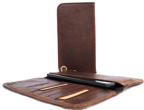 Genuine italian leather Case for apple iphone  iphone 6 6s plus book wallet cover brown daviscase