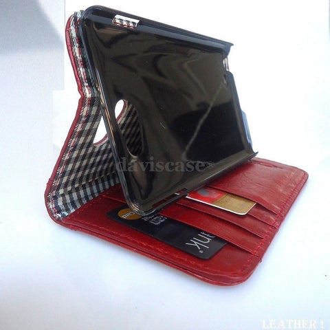 genuine full leather Case For Samsung Galaxy Note II 2 book wallet handmade red